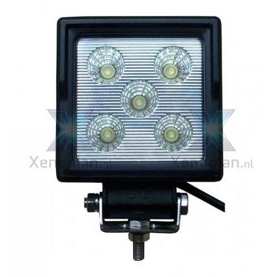 15 Watt vierkante werklamp 5-leds 12V en 24V