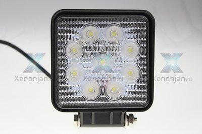 27 Watt vierkante werklamp 9-leds 12V en 24V