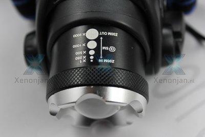 Helmlamp met zoomfunctie